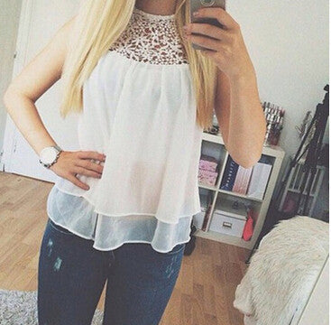 Summer women O-neck Flower Lace Chiffon Sleeveless Blouse Tank Top - White