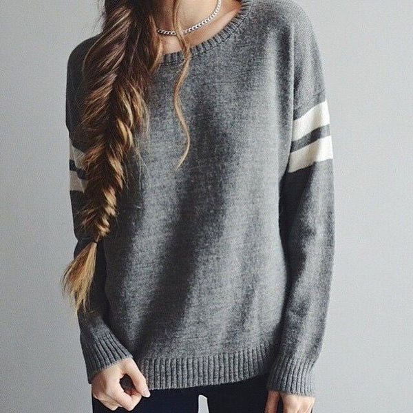 Striped Sleeve Knitted Casual Sweatshirt - Grey/Red/Navy/Green