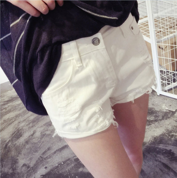 Summer Denim shorts Pants - White