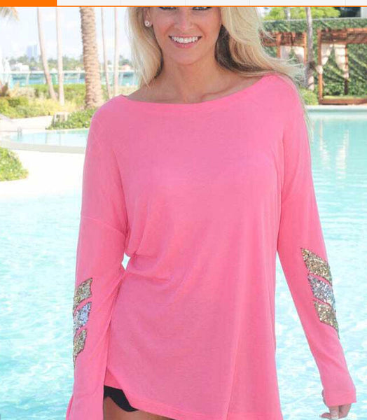 Sequined Arrow Pattern T-Shirt - Blue/Pink