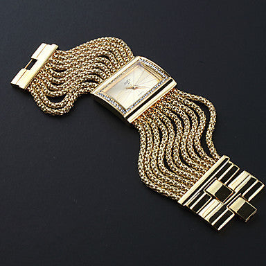 Chic Classic Quartz Women's Gold Diamond Case Alloy Band Bracelet Watch - Gold/Silver