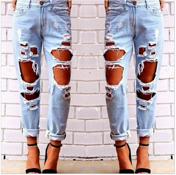 Sexy Womens Ladies Slim Fit Cool Denim Cotton Jeans Skinny Faded Ripped Casual