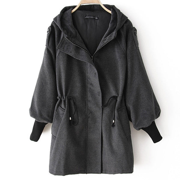Winter Hooded Zipper Elastic Cuffs Coat With