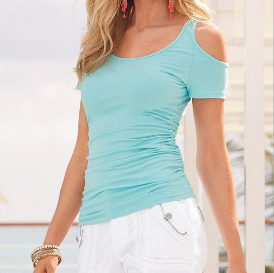 Women Short Sleeve T-Shirt Off the Shoulder Top Tees - 5 Colours