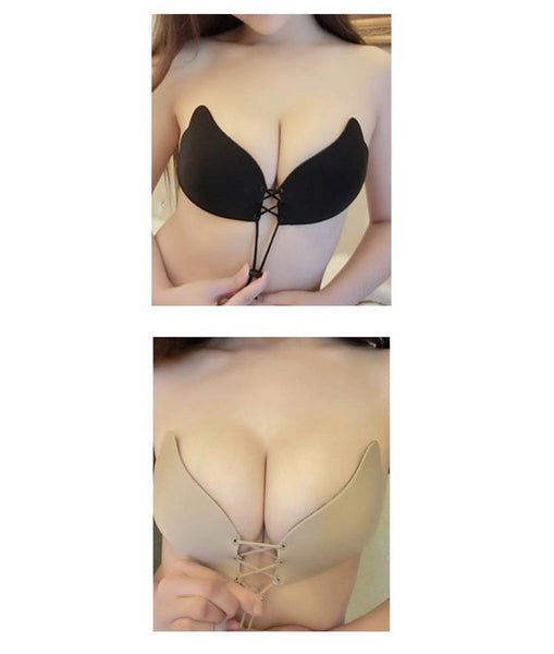 SEXY GATHER WINGS INVISIBLE BRA - Skin/Black