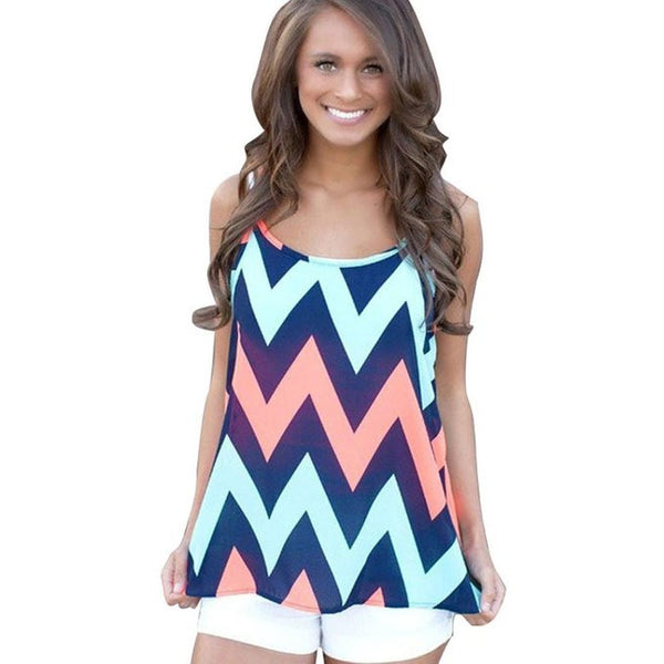 Chiffon Vest Tops Tank Casual Strap Sleeveless Shirt - blue/black/pink