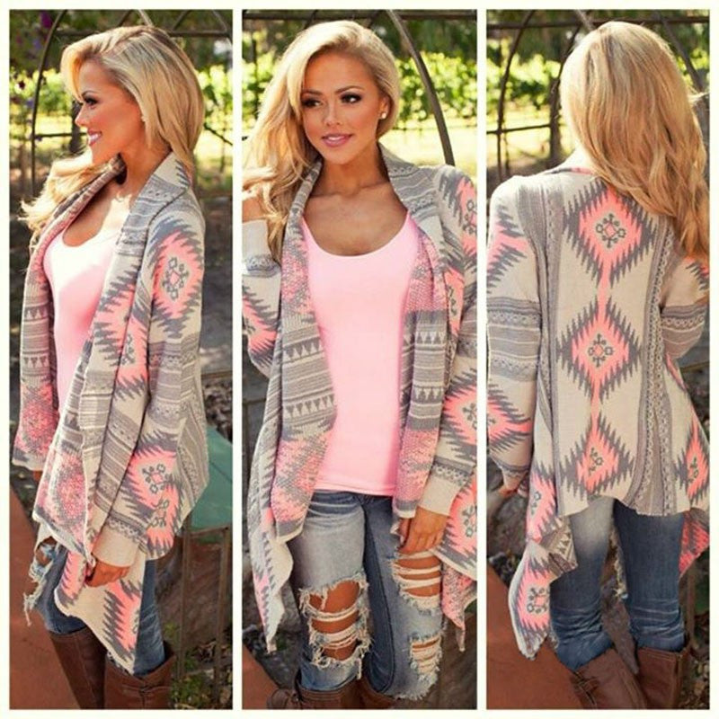 Fashion Autumn Winter Irregular Floral Print Loose Knitted Cardigan - pink/green