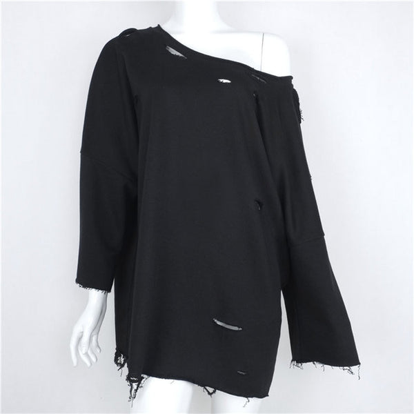 Hole strapless long T-shirt - Black