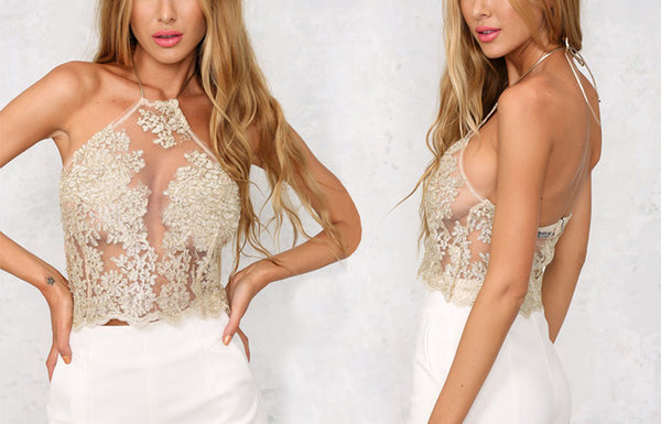 Fashion Women See Through Crochet Embroidery Backless Sleeveless Halter Tops