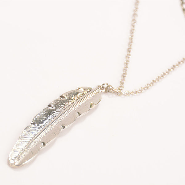 Women Multilayer Irregular Pendant Chain Silver Feather Necklace - Silver/Gold