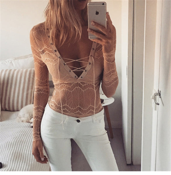 V collar long-sleeved lace shirt Slim T-shirt