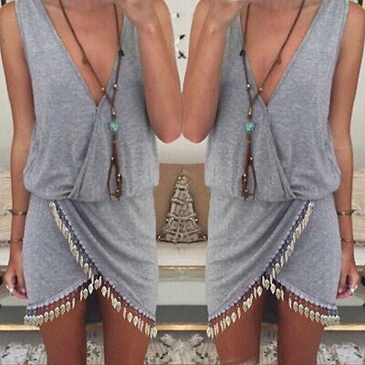 Women Boho Summer Asymmetric Sleeveless V-Neck Party Evening Beach Dress - Grey