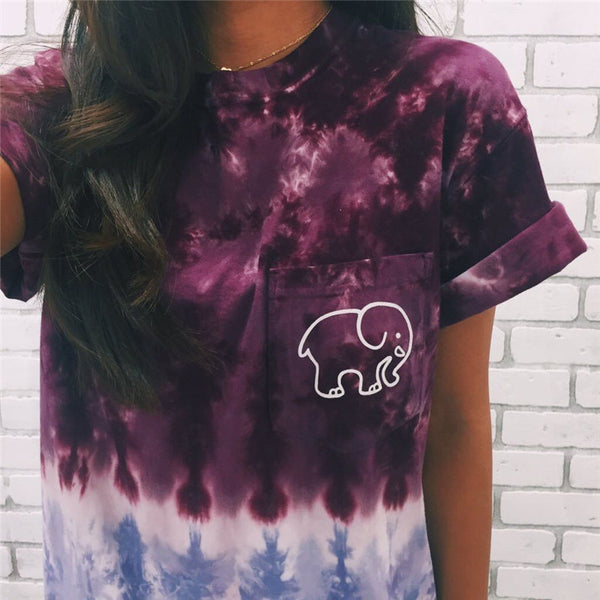 Tie Dye Gradient Elephant T Shirt - Purple