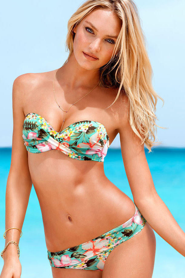 Summer Floral Print Pleated Bandeau Bikini -Green