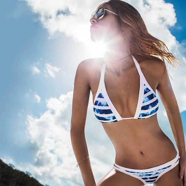 Summer Bikinis Set Blue White Striped Bikini Swimwear Bathing Suits - blue