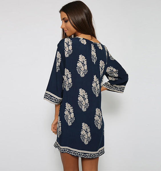 Floral Print Tie-Neck Shift Dress - Blue