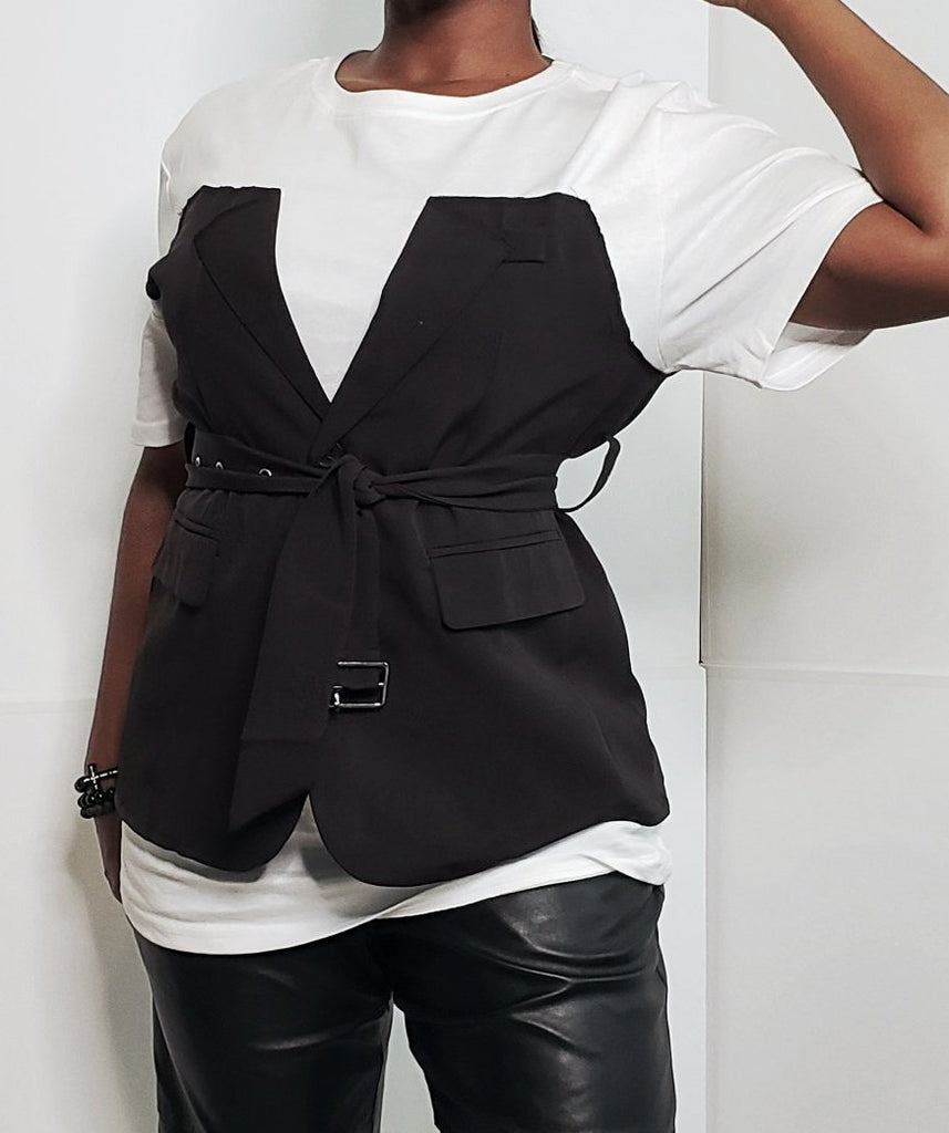 Low-Key Casual Belted Vest Tshirt - Mod Instinct