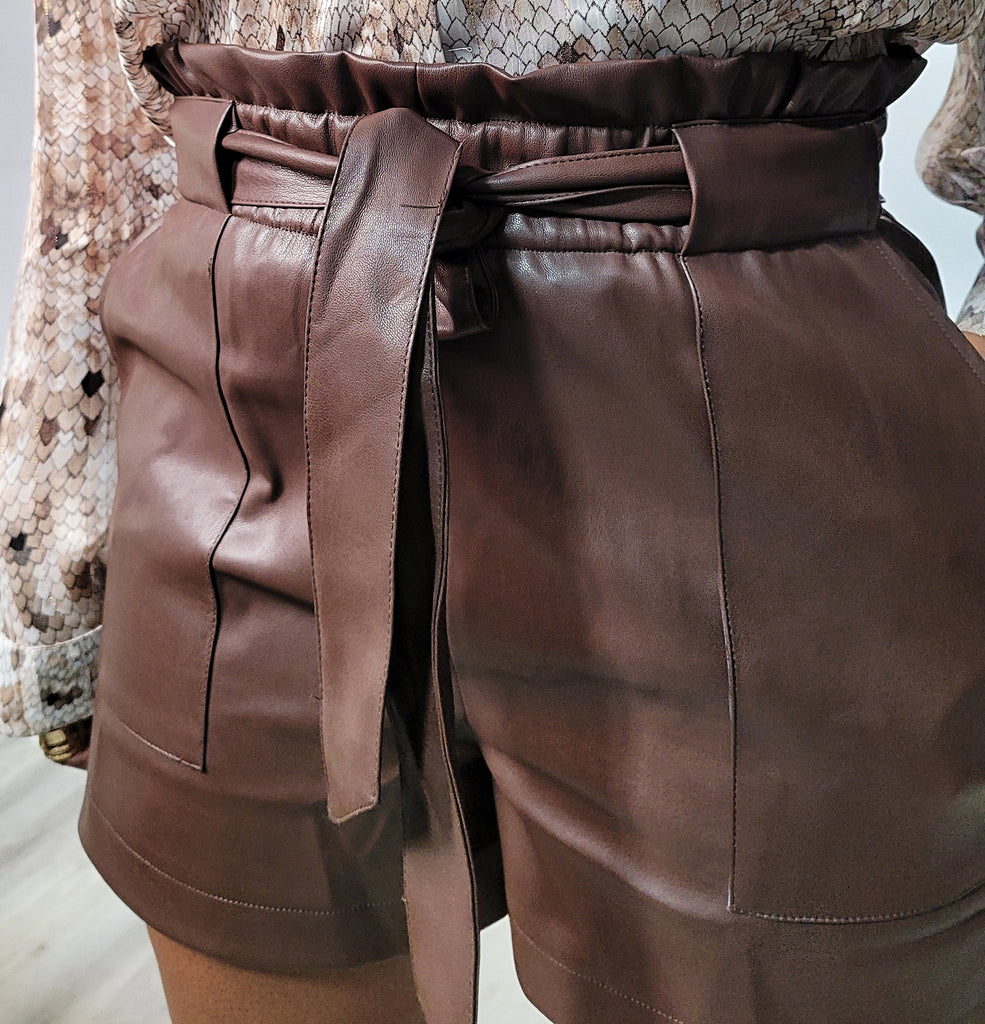 Make It Look Hot Faux Leather Shorts