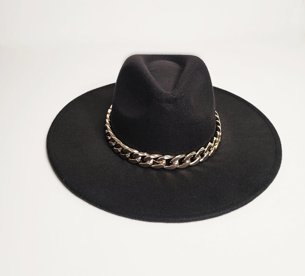 LUCCA COUTURE Paco Black Chunky Chain Fedora - Mod Instinct Limited