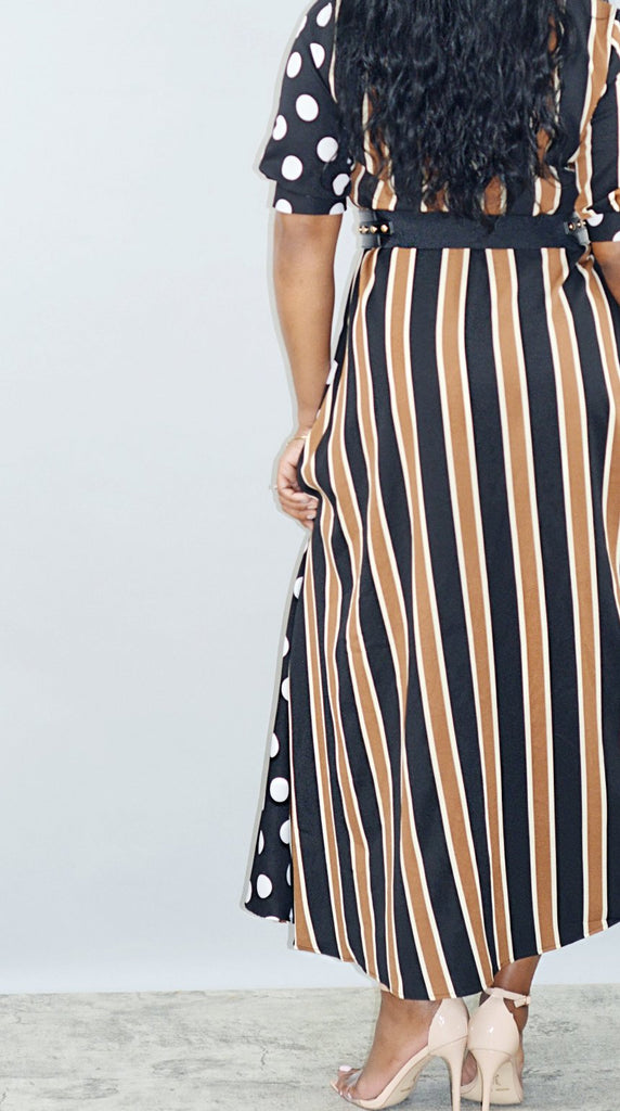 V-Neck Polka Dot and Striped Maxi Dress - Mod Instinct Limited
