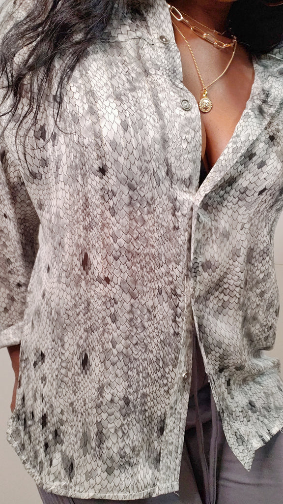 MOD INSTINCT Snake Print Button Top in Grey - Mod Instinct Limited