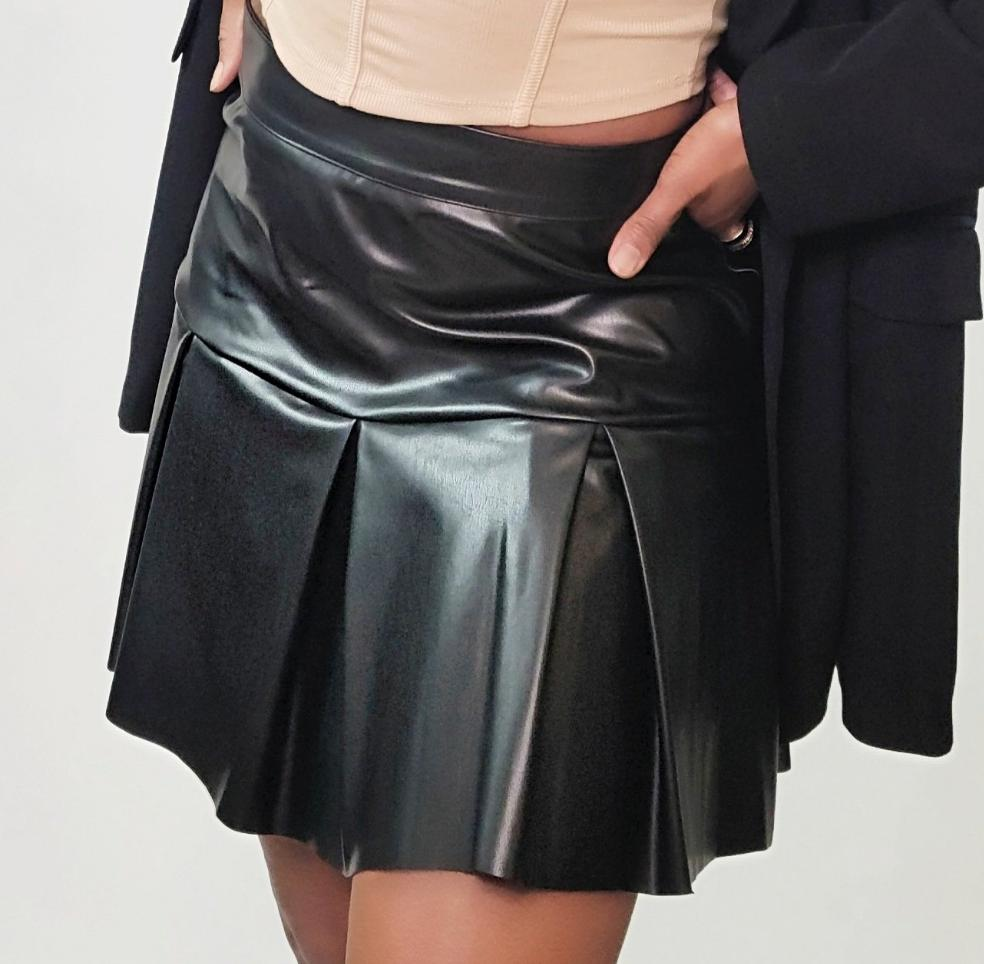 MOD INSTINCT Faux Leather Pleated Skirt in Black - Mod Instinct Limited