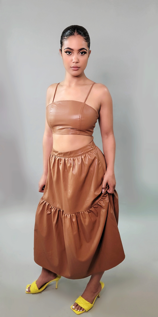 MOD INSTINCT Faux Leather Bralette in Cognac - Mod Instinct Limited