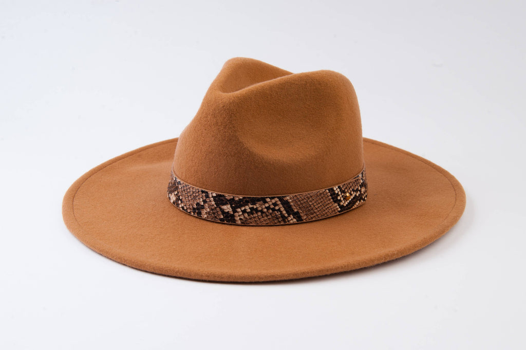 LUCCA COUTURE Tan Snake Trim Wool Fedora - Mod Instinct Limited