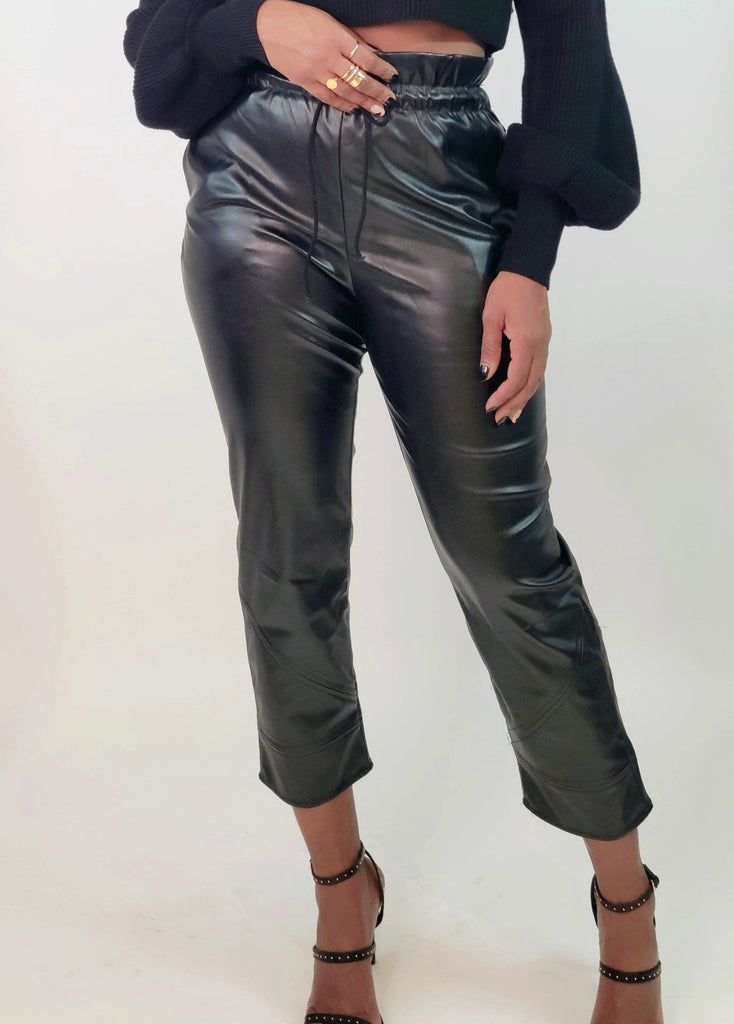MOD INSTINCT Faux Leather Paper Bag Drawstring Pants - Mod Instinct Limited