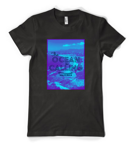 Black Tshirt - The Ocean is Calling - Sandon Point / Bulli, NSW - SALTCALLS