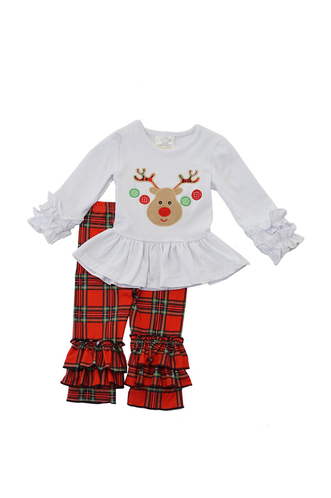 Deer applique plaid pants set CKTZ-012330