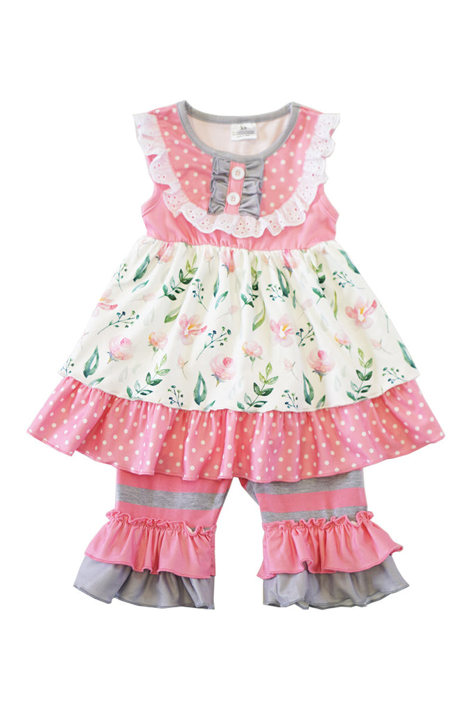 Pink grey ruffle girls set ZKTZ-012542