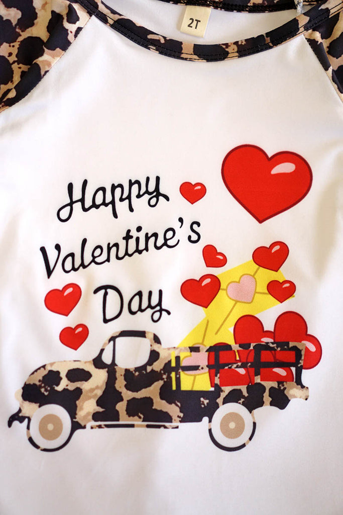 Happy Valentine's Day leopard flare bell pants set 150453