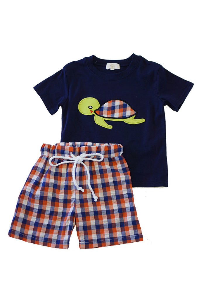 Turtle applique boy truck shorts set 150491