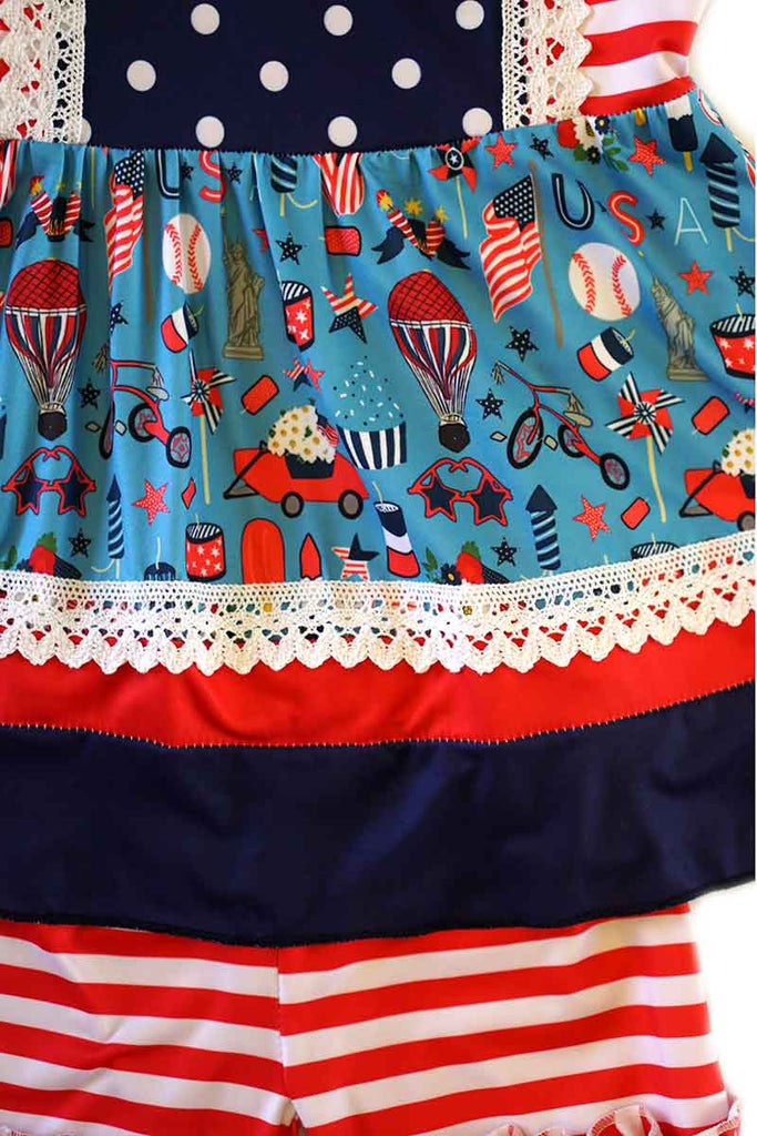 Red white blue stripe polkadot ruffle set