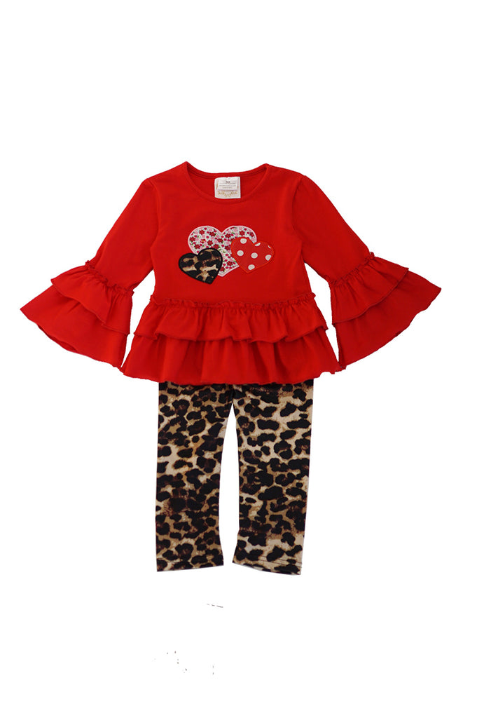 Red ruffle sleeve top with leopard pants set CXTZ-190135