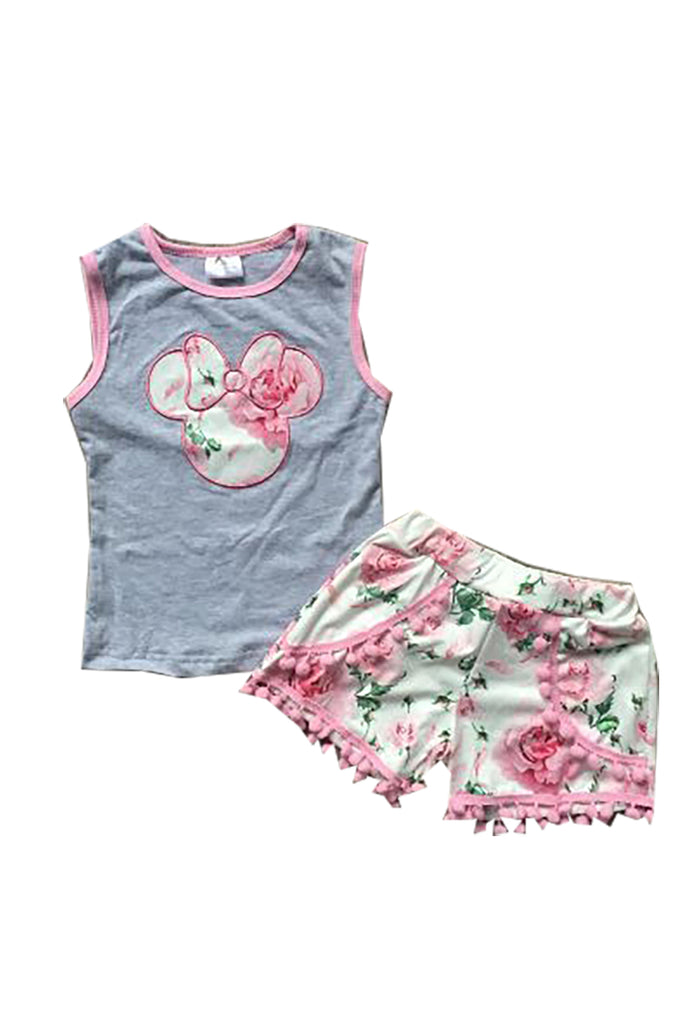 Pink minnie applique pom pom top & shorts set 202548