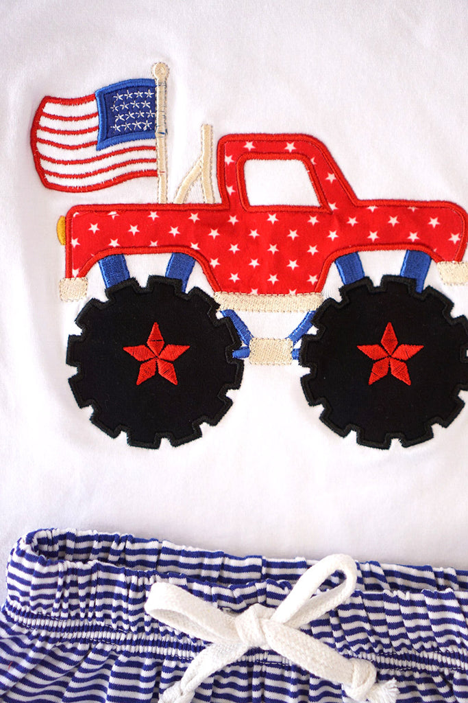 Patriotic truck applique boy set 202601