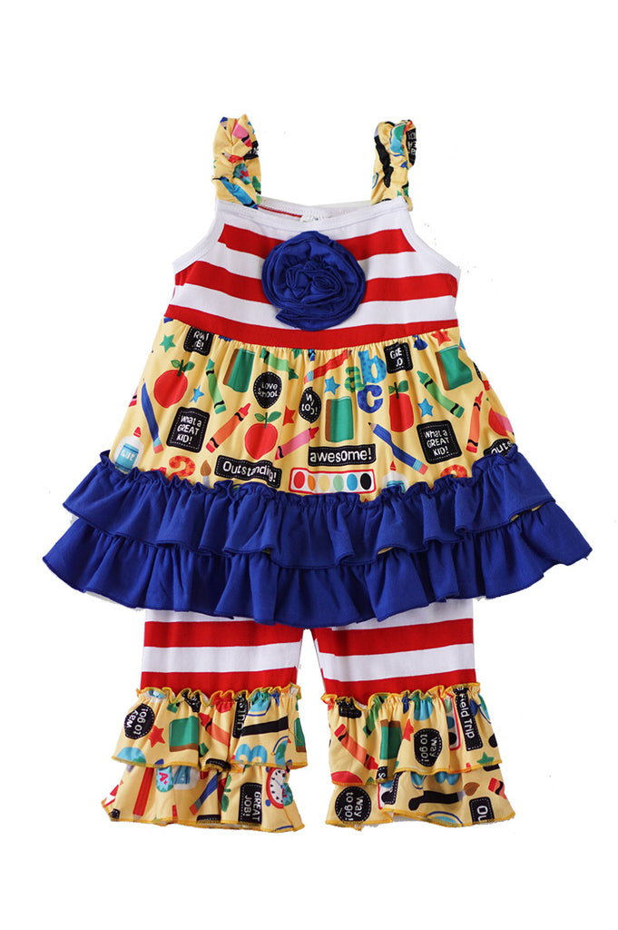Back to school print ruffle set 319185