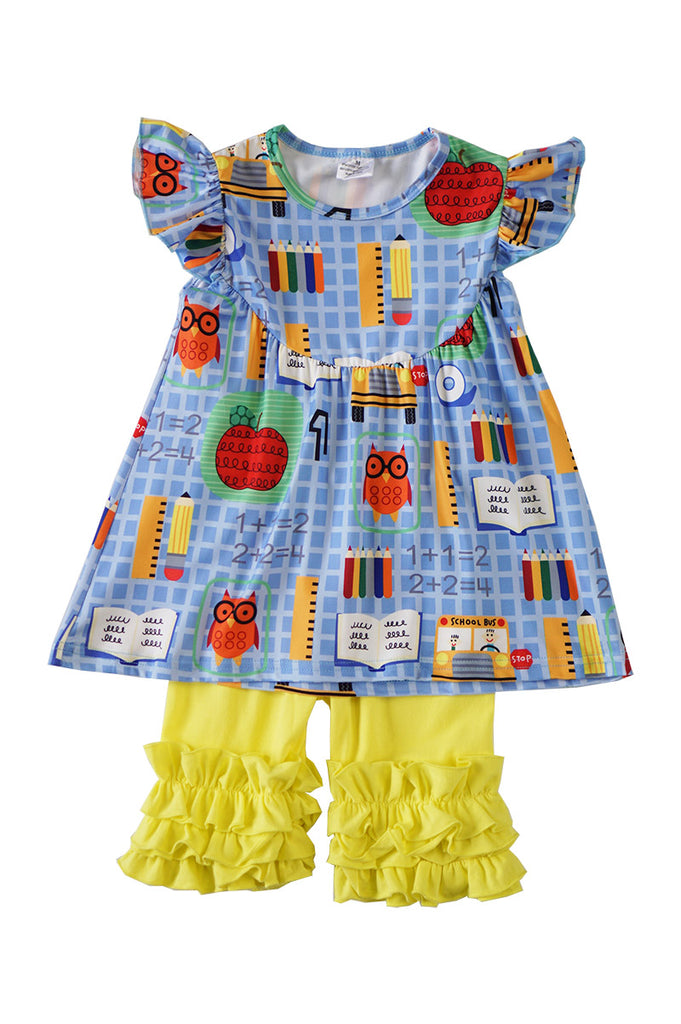 Back to school print ruffle set 319197