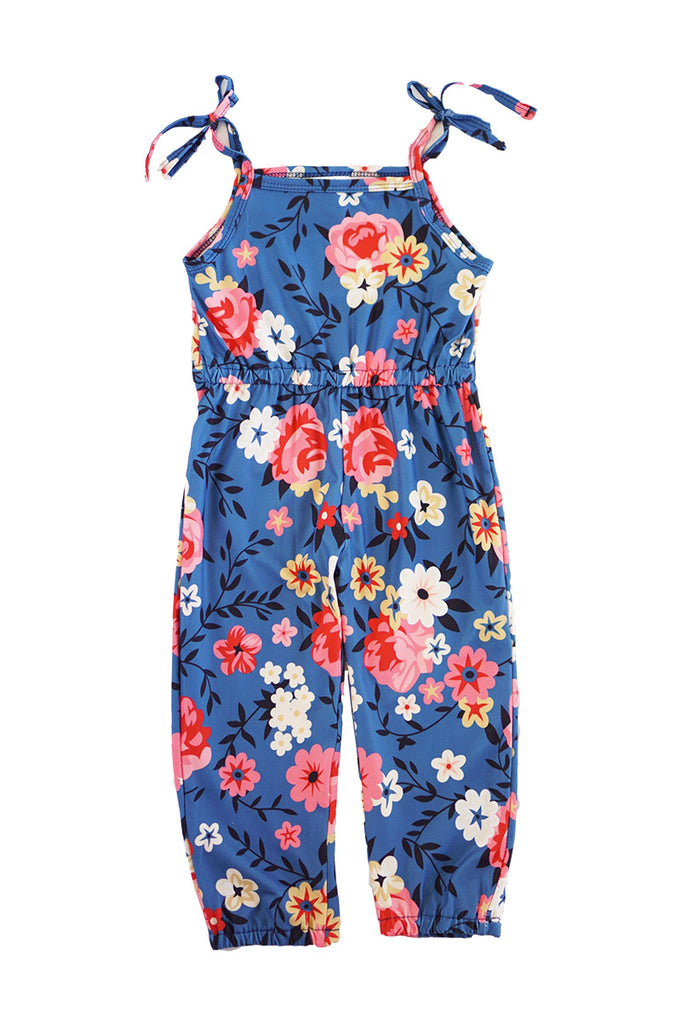 Navy floral print jumpsuit for girls 319247