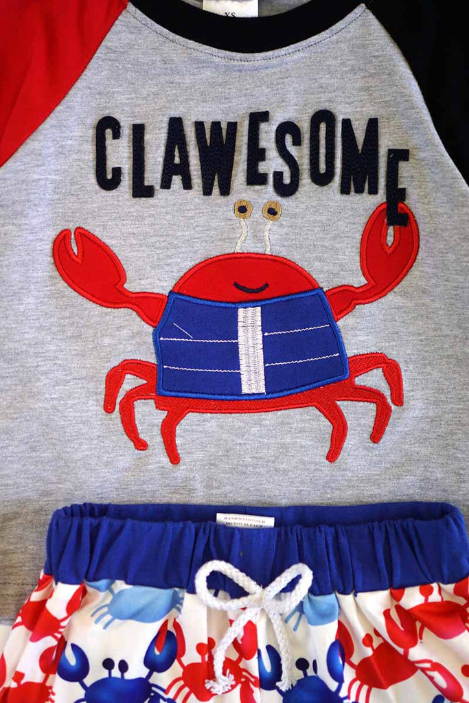 Red Blue crab top & pants 2pcs boy set 319816