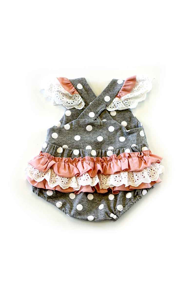 Grey polkadot flamingo applique lace baby romper