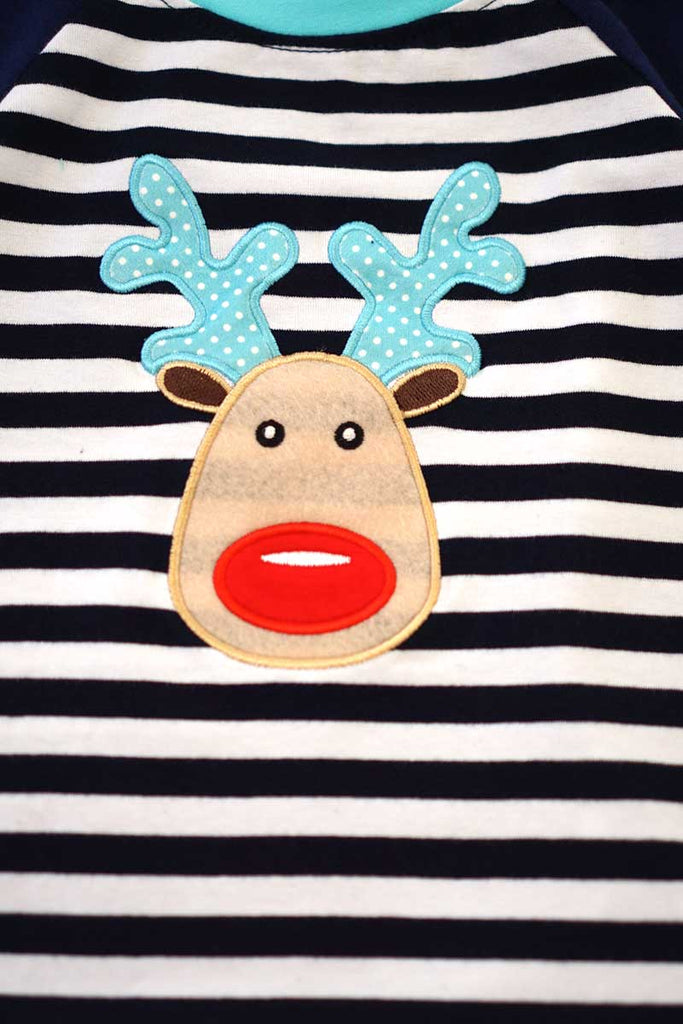 Blue stripe deer applique raglan shirt CXSY-540182