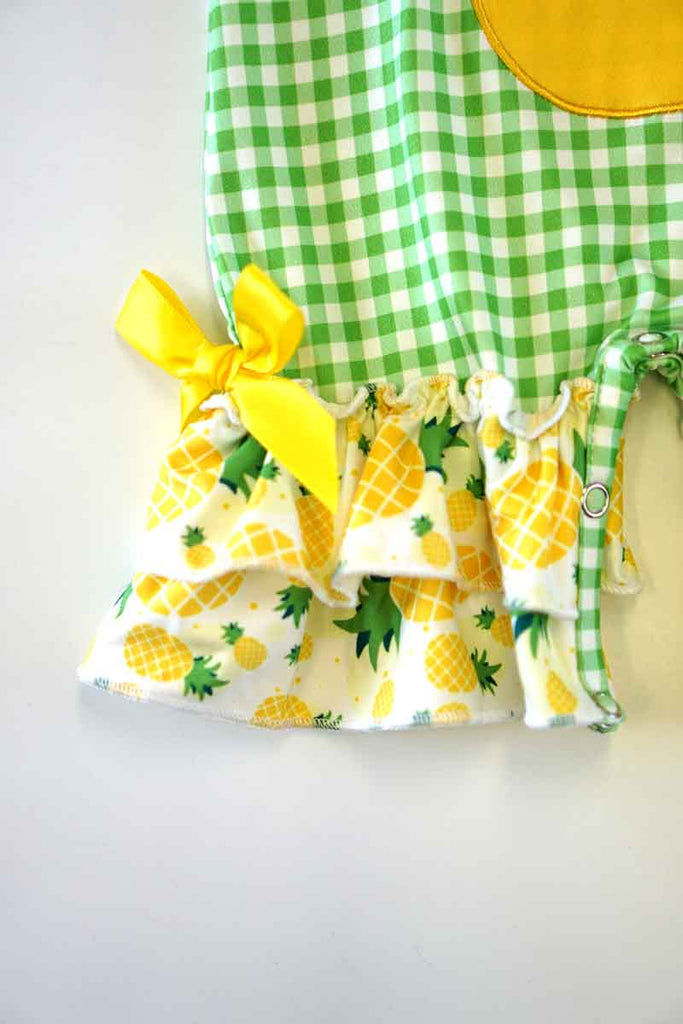 Pineapple applique ruffle baby romper