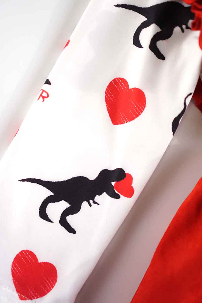 Dinosaur heart shirt with red suspender skirt 2 pcs set CXQTZ-580498 Defect final  Sale