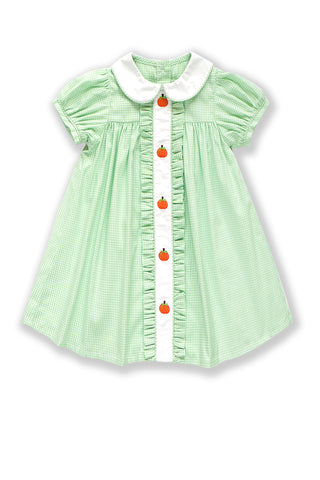 Embroidery White Green Plaid Dress pumpkin 620006