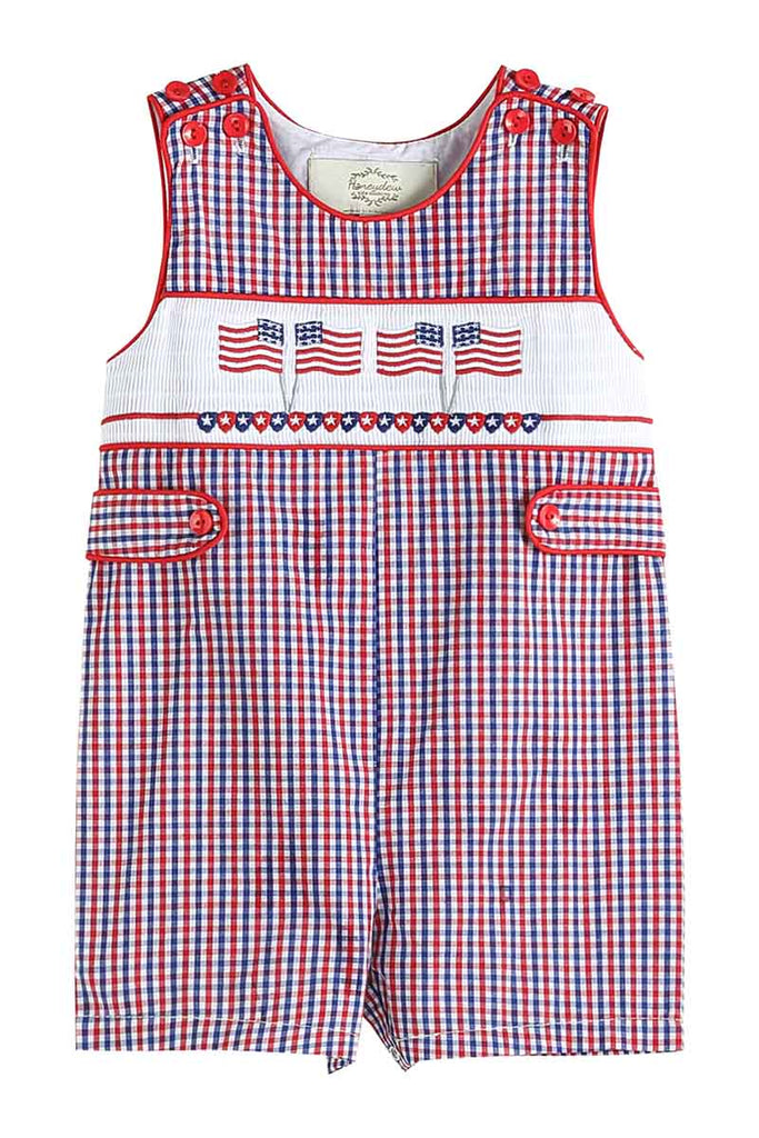 Blue Red ginghan patriotic flag smocked boy Jonjon