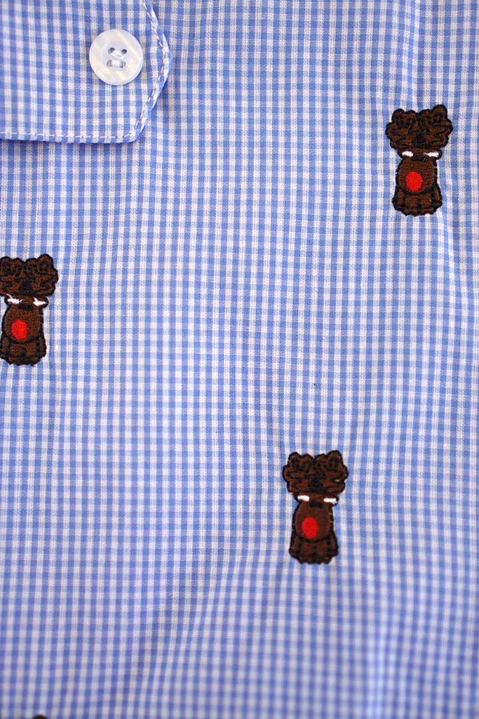 Blue plaid christmas reindeer embroidery boy jonjon 900058