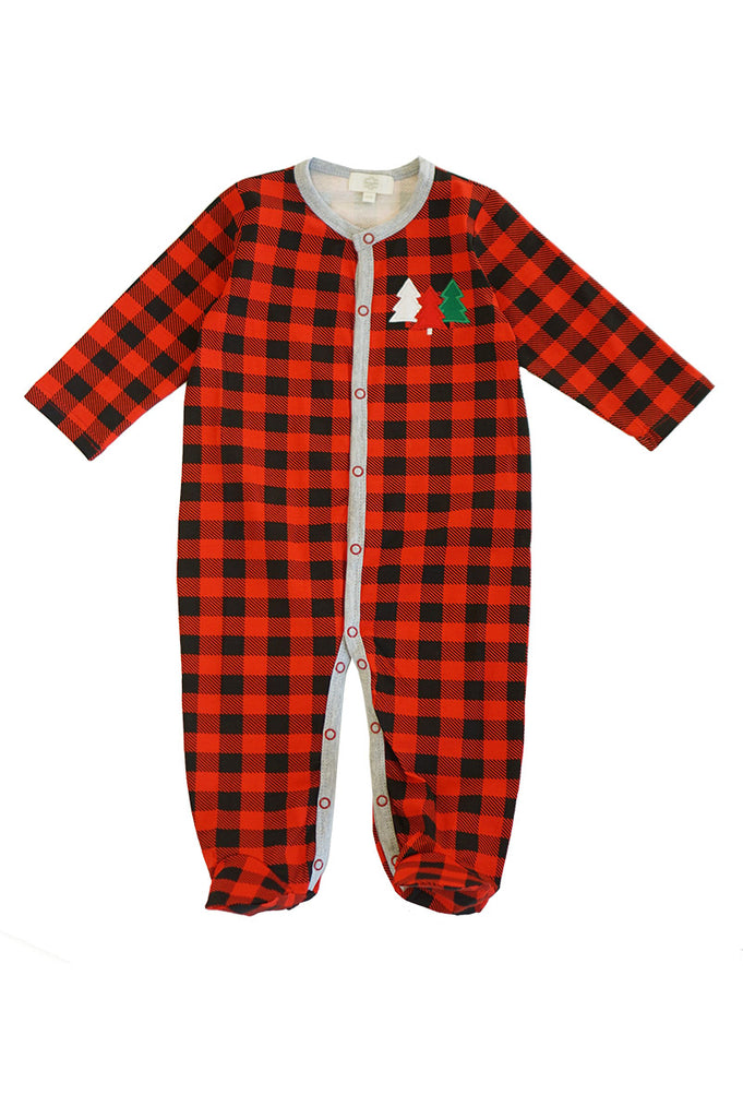 Red blck plaid christmas tree baby romper 900076